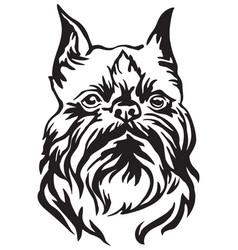 Decorative portrait dog brussels griffon vector
