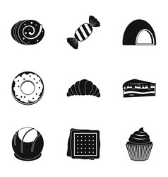 Different sweet icon set simple style vector