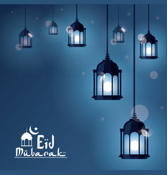 eid mubarak greeting with beautiful illuminated vector image