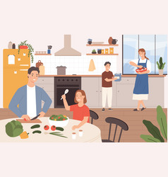 family cooking together happy parents vector image