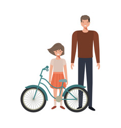 Father and daughter with bycicle avatar character vector
