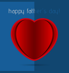 fathers day card - red heart with shadow and text vector image