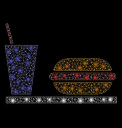 Flare mesh network fastfood with flare spots vector