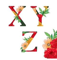 Flower colorful alphabet vector