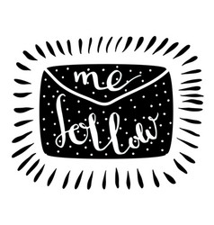 Follow me letter handwritten icon blog banner vector