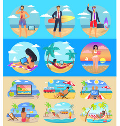 freelance summer people set vector image