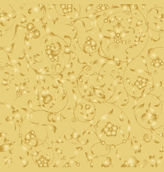 golden endless background with floral ornament vector image