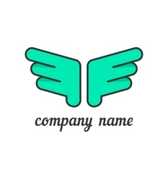 Green wings like company branding vector