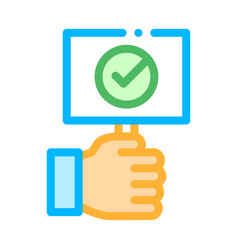 Hand holding tablet with approved mark icon vector