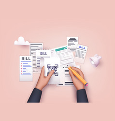 Hands holding paying bills and pencil payment vector