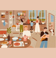 Happy family cooking in kitchen and serving dining vector