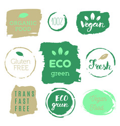 healthy food icons labels organic tags natural vector image