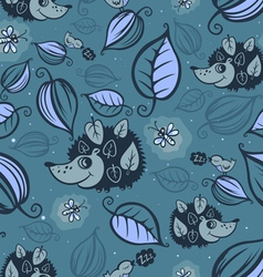 Hedgehogs in the night forest vector