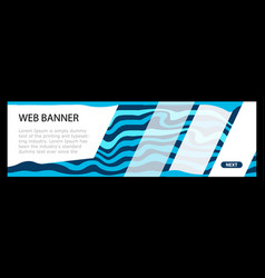 horizontal color banners with blue waves on dark vector image