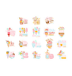 Ice cream labels set colorful hand drawn vector