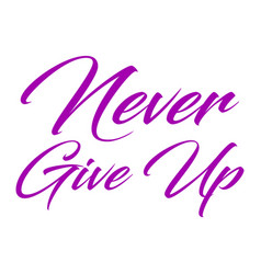 inspirational quote never give up hand written vector image