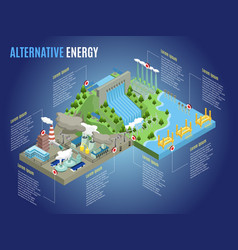 Isometric alternative energy infographic template vector