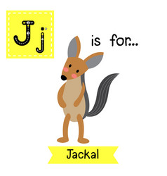 Letter j tracing jackal animal standing on two vector