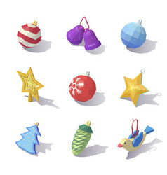 Lowpoly christmas tree decorations vector