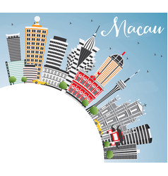 Macau skyline with gray buildings blue sky and vector