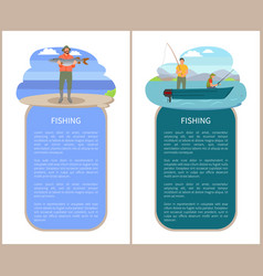 men in motorboat fishing and fisher with catch vector image