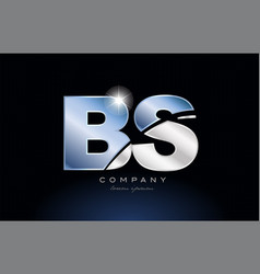 Metal blue alphabet letter bs b s logo company vector