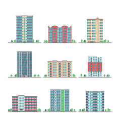 modern city apartment buildings flat set vector image