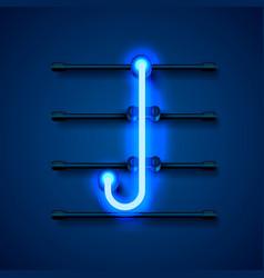 Neon font letter j art design signboard vector