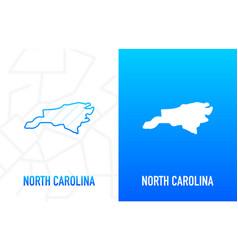 North carolina - us state contour line in white vector