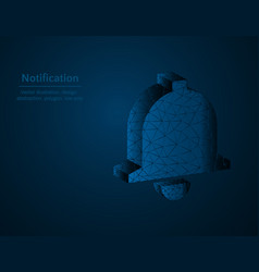 notification symbol low poly bell polygonal icon vector image