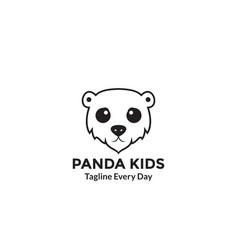 Panda kids head sad logo design vector