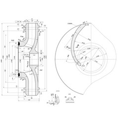 part wheel of engineering sketch vector image