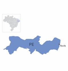 pernambuco state map vector image