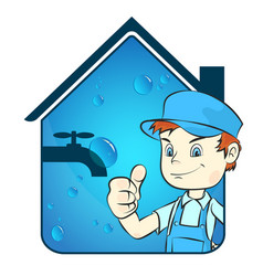 plumber and house vector image