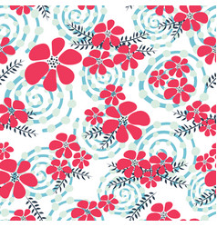 red and blue winter flowers seamless vector image