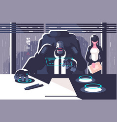 Robot boss with woman secretary in office room vector
