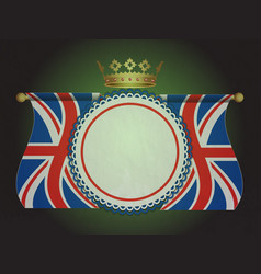 Rosette banner with union jack flags and crown vector