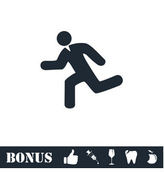 Run icon flat vector
