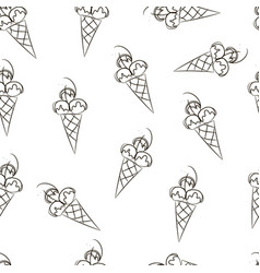 seamless ice cream pattern hand-drawn monochrome vector image