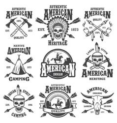 set american indian emblems vector image