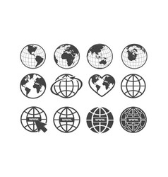 Set earth globe icons in flat and linear vector