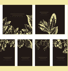 set of card with leaves wedding ornament concept vector image