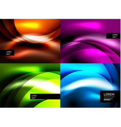 Set of shiny silk wave abstract backgrounds vector