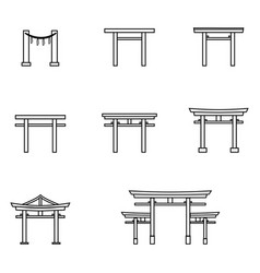 Set outline torii gate icons symbol of vector