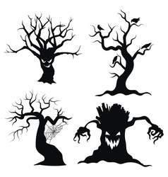 set tree silhouettes for halloween vector image