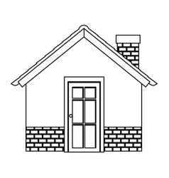 Silhouette comfortable facade house with chimney vector