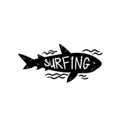 Surfing logo hand drawn design element with wild vector