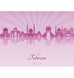 Tehrani skyline in purple radiant orchid vector image