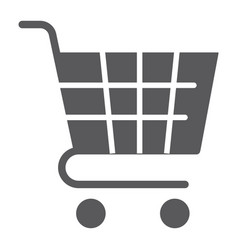 trolley glyph icon shop and market cart sign vector image