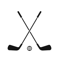 Two crossed golf clubs and ball icon simple style vector